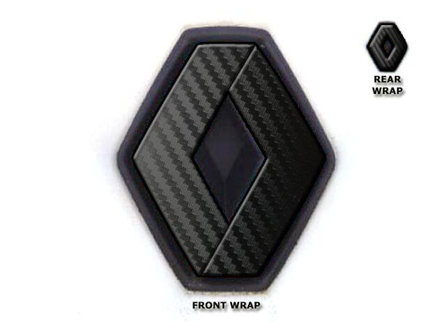Renault Clio Mk2 Front Rear Vinyl Badge Wraps Black Carbon Emblem Badges Covers