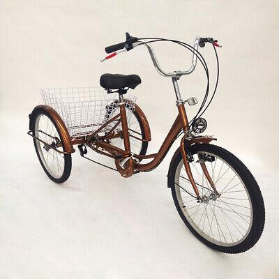 """24/"""" Roda De 3 Adulto Triciclo Trike Bicicleta Cesta Assento Trike Cruzeiro lâmpada Dhl"""