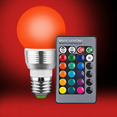E27 E14 RGB LED Light Bulb 5W Color Changing Energy Saving Lamp + Remote Control