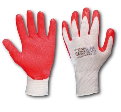 12 Pairs LATEX COATED RUBBER WORK GLOVES SAFE BUILDER GRIP GARDENING Red White