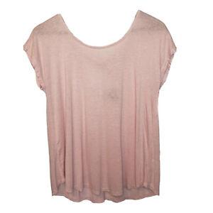 Bobeau-Scoop-Neck-T-Shirt-Pink-Short-Sleeve-Medium-Tie-Back-Cut-Out-Linen-Blend