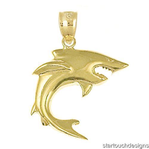 New 14k Yellow gold Shark Charm Pendant