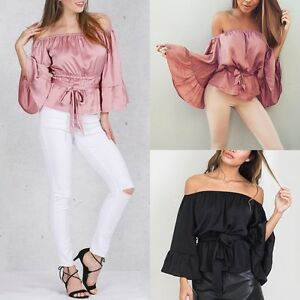 Fashion-Women-039-s-Summer-Sexy-Off-shoulder-Shirt-Casual-Blouses-Crop-Tops-T-Shirt