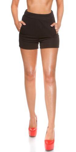 Neu trendy High Waist Short Hotpant Hose Taschen Bermudas Pant Damen kurz !9242