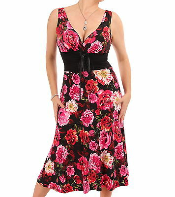 New Pink and Red Floral Lace Up Dress - Knee Length