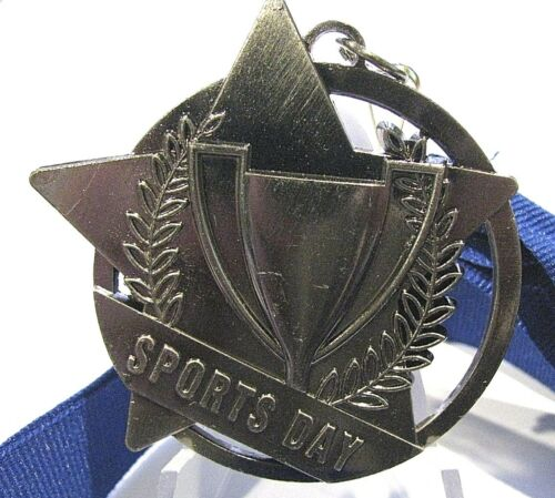 Sports Day Antique Silver Medal 50mm Diameter Engraved FREE Ribbon Included
