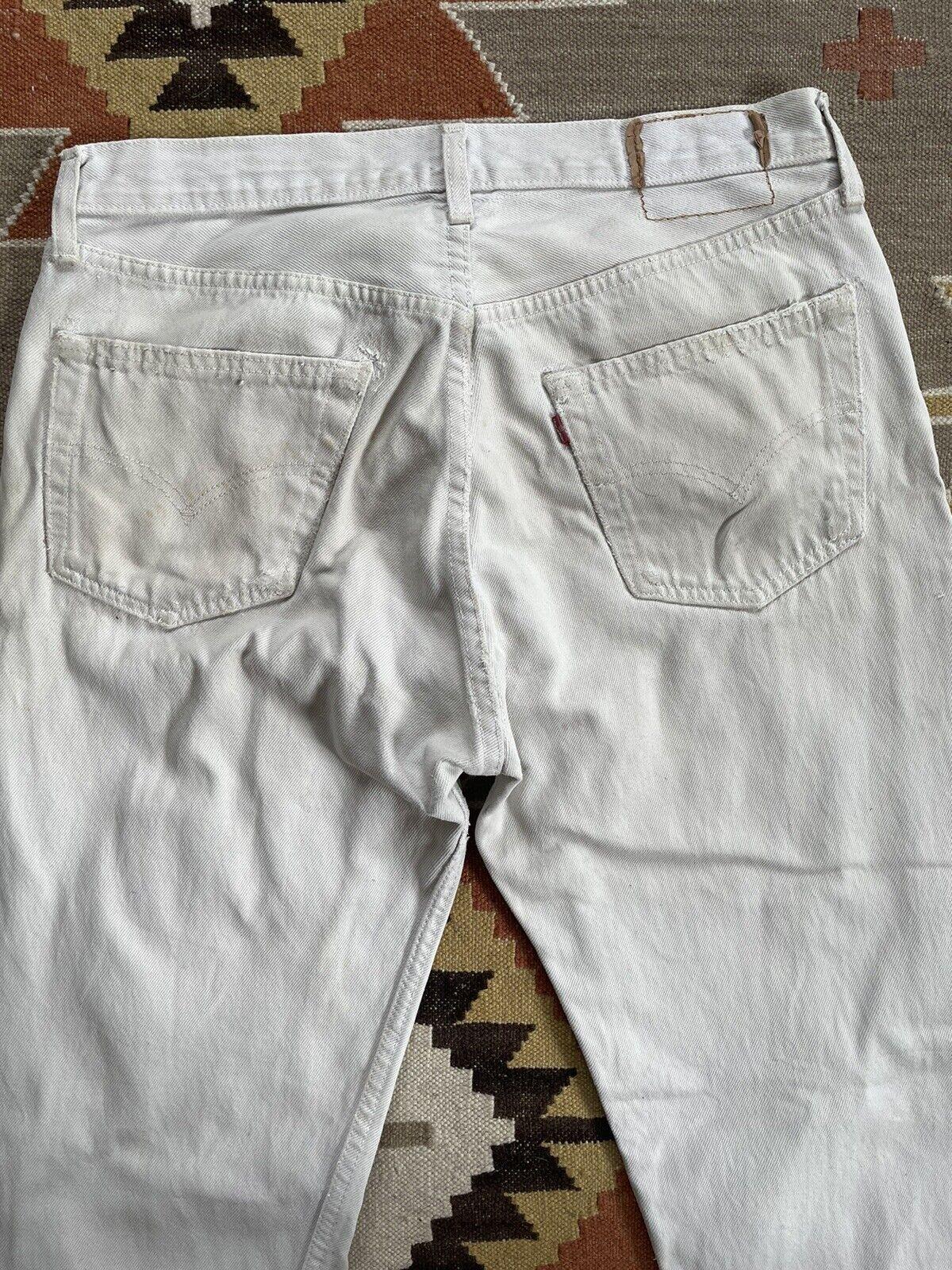 Vintage Levi's 501 Custom Distressed White Denim … - image 8