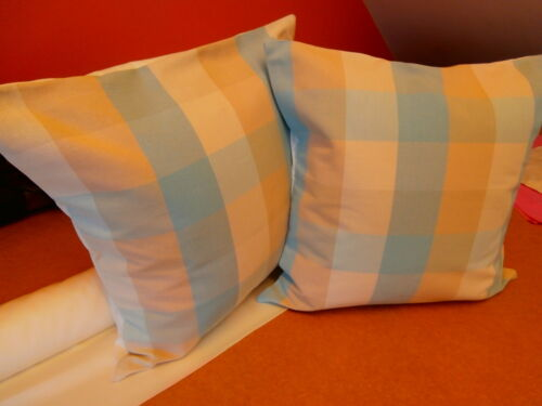 TWO LAURA ASHLEY HANDMADE CUSHION COVERS  IN MITFORD CHECK IN DUCK EGG