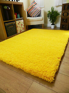New Bright Non Shed Thick Yellow Shaggy Rug Large Small