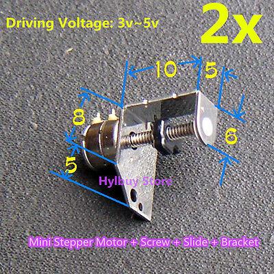 2pcs DC 3v~5v Mini Stepper Motor 2-phase 4-wire- Micro-step Motor Screw Slider