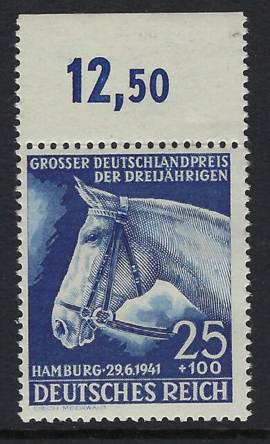 Germania: 1941 72nd anniversario dell'Amburgo Derby 25pf+100pf Blu SG 767 Gomma integra, non linguellato