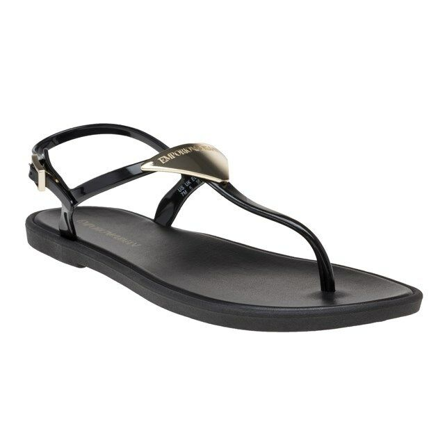 New Womens Emporio Brmani Black Branded Thong Pvc Sandals Flats Buckle