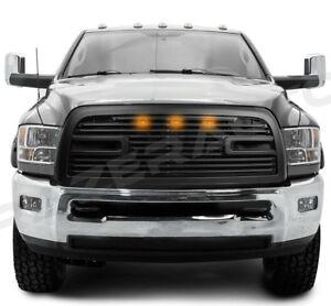 Big-Horn-2-3LED-Matte-Black-Packaged-Grille-Shell-for-10-18-Dodge-RAM-2500-3500