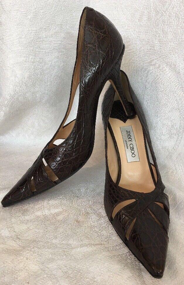 Garanzia di vestibilità al 100% Jimmy Choo scarpe Marrone embossed alligator pump pump pump Dimensione 39  acquista online