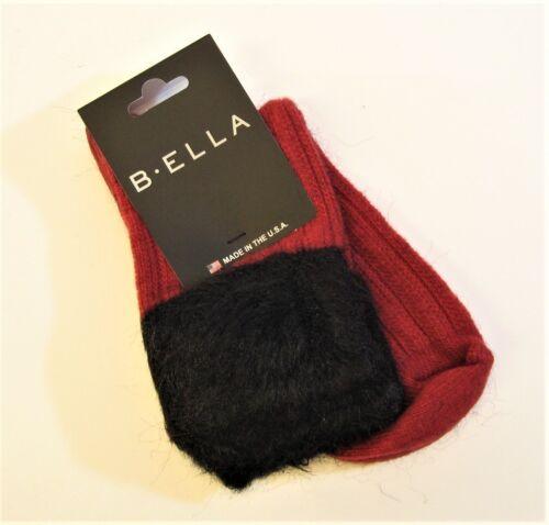 b.ella Ladies Wool Cashmere Angora Blend Boot Socks Griselda Faux-Fur Top Red