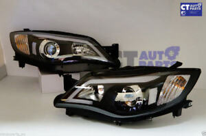 Black-LED-DRL-Day-Time-Projector-Head-Lights-for-08-13-Subaru-Impreza-RS-WRX-Sti