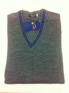 Grey-School-Uniform-039-V-039-Neck-Jumper-royal-blue-Trim-46-034-chest-REDUCED