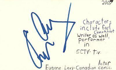 Entertainment Memorabilia Frank Eugene Levy Canadian Actor Comedian Sctv Show Autographed Signed Index Card