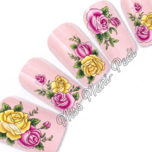 Nail Art Water Transfers Stickers Wraps Decals PinkYellow Roses Flowers G089