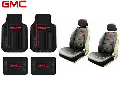 8 PC GMC Elite Seat Covers Leather & Front & Rear Rubber Floor Mats Fast Ship