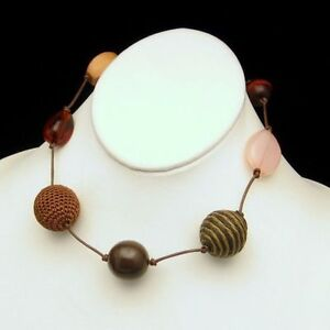 Chunky-Designer-Large-Beads-Mixed-Variety-Brown-Pink-Cork-Necklace