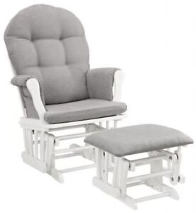 furniture nursery chair baby rocking set white with gray cushion