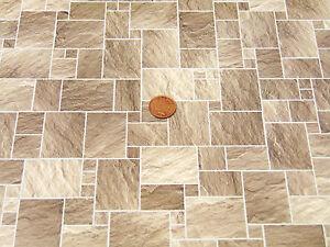 1-12-Scale-A3-Dark-Stone-Floor-Tile-Card-Tumdee-Dolls-House-Miniature-DIY-434B
