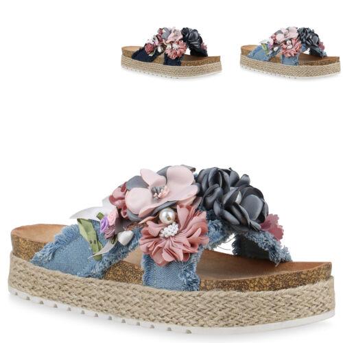 Damen Pantoletten Sandaletten Blumen Bast Plateau Sandalen 831117 Trendy Neu