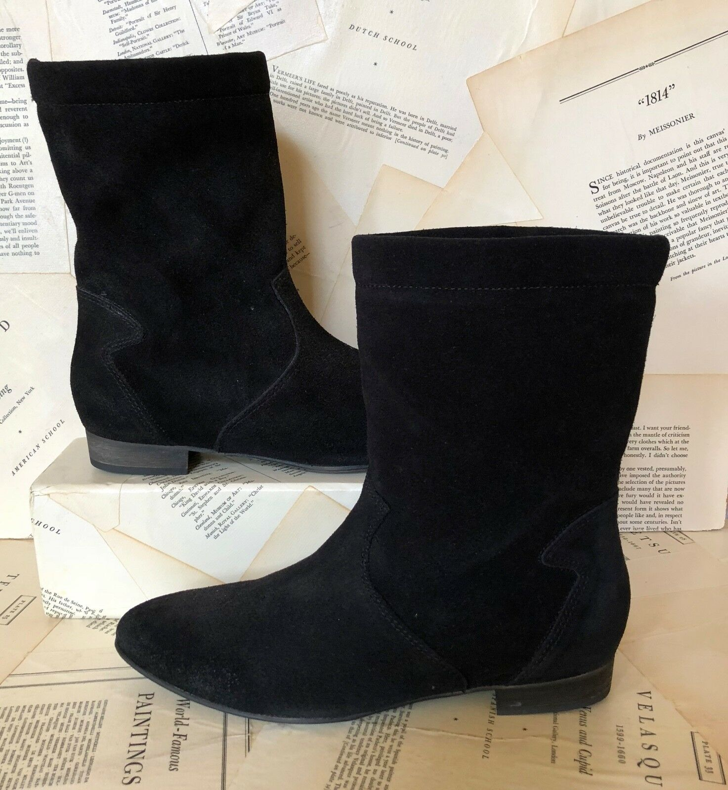 NEW Free People black Suede Pull On Slouchy Flat Pointy Toe Ankle Boots 38/7.5-8