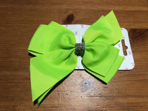 "10PCS 6/"" Luminous Green Hair Bow With Diamante Centre And Clip Party Bags"