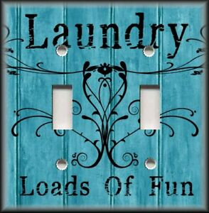 Metal Light Switch Plate Cover Laundry Loads Of Fun Turquoise Blue Laundry Decor