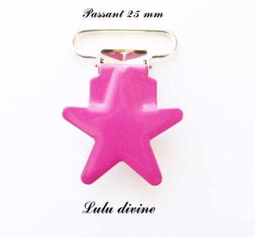 Attache tétine doudou Pince étoile passant de 25 mm : Rose Clip étoile