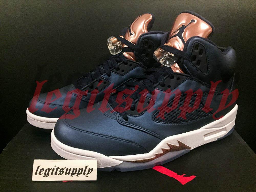 Nike Air Jordan Retro 5 V Olympic Bronze Sz Sz Sz 4.5Y Obsidian bianca rosso 440888-416 aae202