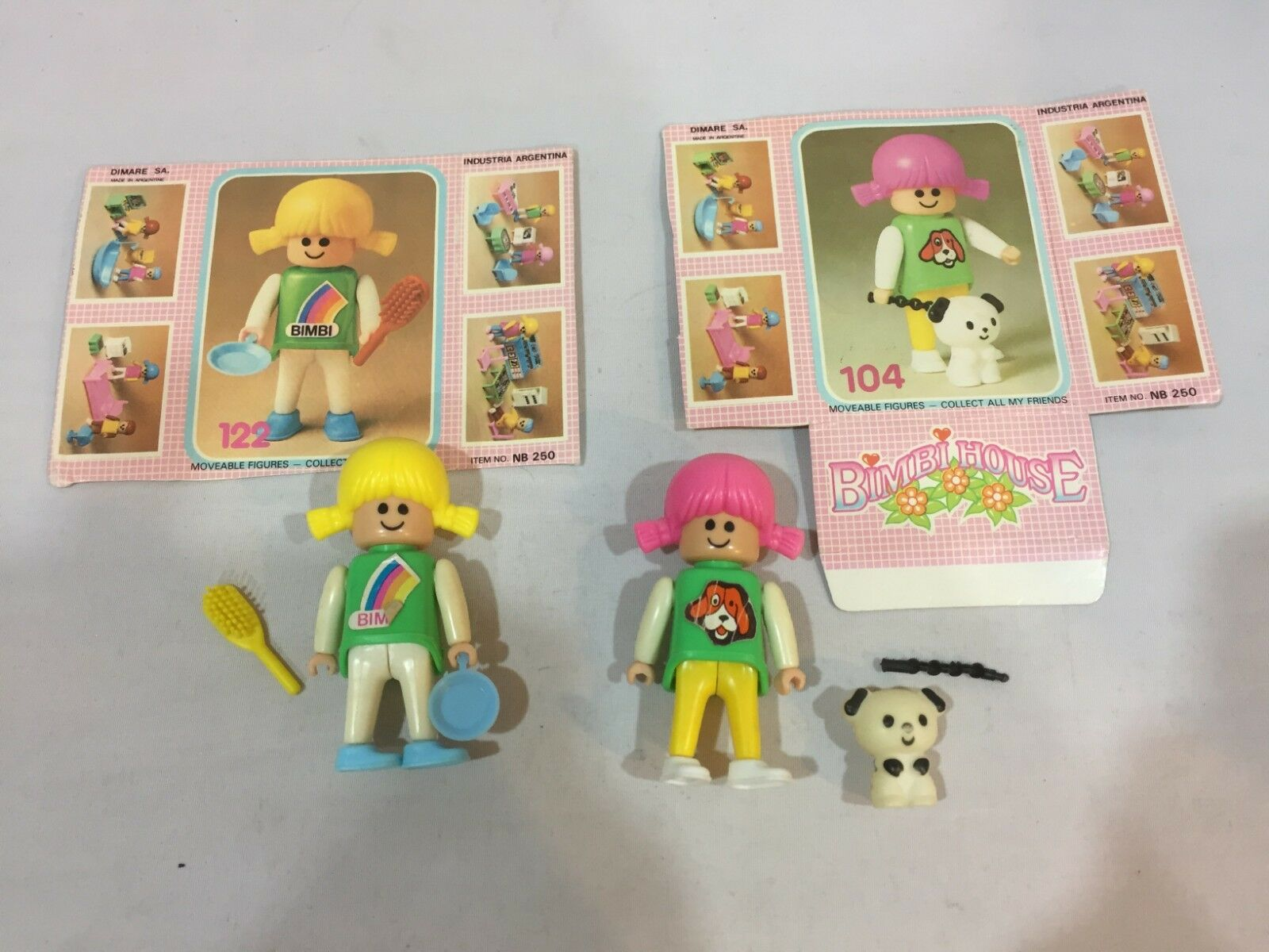 Rare Vintage Bimbi House Pinypon Toy Figures   122 &  104 Complete