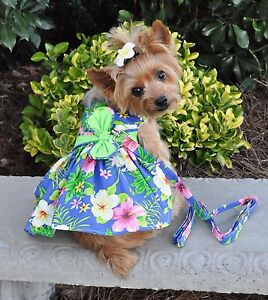 Doggie-Design-Blue-Lagoon-Hawaiian-Hibiscus-Dog-Dress-with-Matching-Leash-XS-L