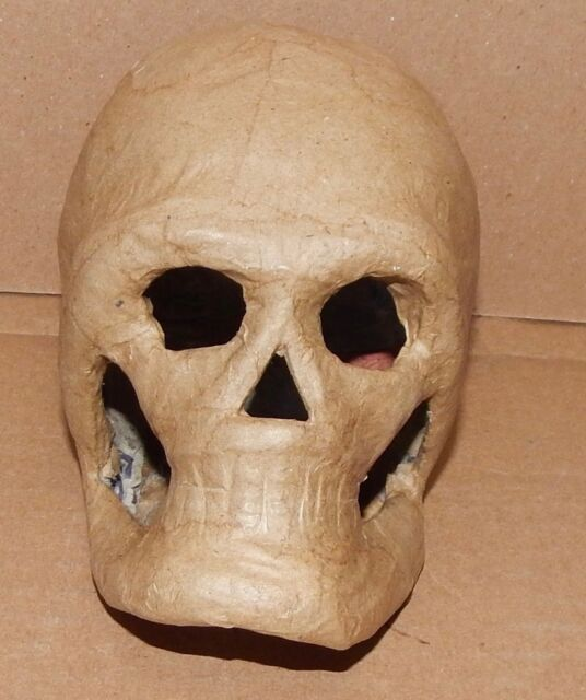 "Paper Mache Skull mask 8/"" Halloween decor Lot of 6 Ready to Paint"