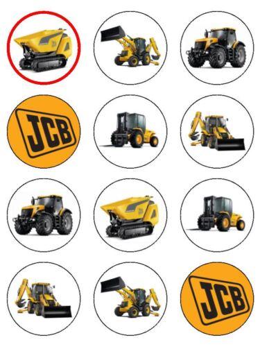 """12 x jcb digger tracteur benne 2 /""""pré-coupés Comestibles Papier de Riz Cupcake Toppers"""