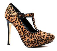 Dune Uk 6 Held T Bar Leopard High Heel Leather Platform Court Shoes Rrp £95