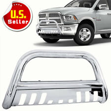 Steel Bull Bar Brush Bumper Grille Guard With Skid For 09-16 Dodge Ram 1500
