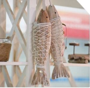 Details About Hanging Wooden Fish Wall Art Decor Nautical Ornament Wall Hanging Decor 2 Of Set