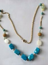 """Southwest Gold Filled Turquoise faceted bead, pearl, quartz, necklace  24"""""""