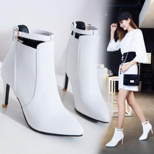 Damenstiefeletten Spitz Schnalle Ankle Boots Stilettos High Heel 46//47//48 Pumps