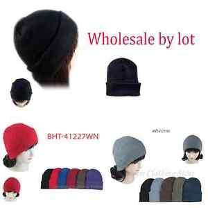 1~5 Dozen Beanie Knit Ski Cap Skull Hats Solid Plain Winter Cuff Wholesale Lot
