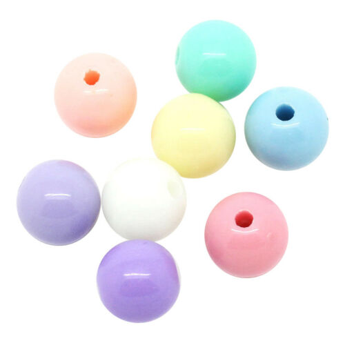 Z1H9 300Pcs Mixed color Acrylic Spacer Beads Round Ball 8mm Dia