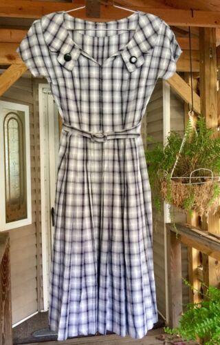 1950's Vintage Cotton Woven Plaid Dress