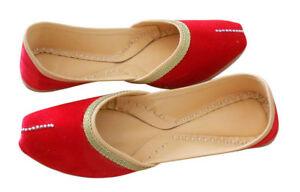 Women-Shoes-Indian-Handmade-Jutties-Leather-Loafers-Red-Mojari-UK-7-9-5-EU-41-44