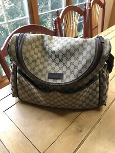5e5cca34aaa0 Image is loading Authentic-Gucci-GG-Canvas-Diaper-Bag-Brown
