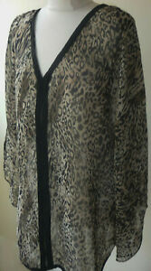 Brown-Animal-Print-Short-Kaftan-Size-18-20-Sheer-Tunic-Top-Cover-Up-Black-Trim
