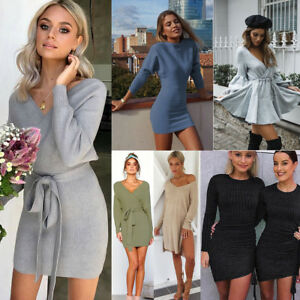 60269193040 Details about Winter Autumn Women s Long Sleeve Loose Knit Party Sweater  Short Mini Dress