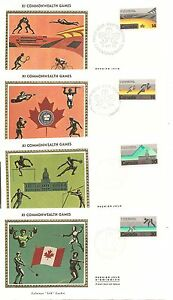 Canada-SC-759-762-XI-Commonwealth-Games-FDC-4-covers-Colorano-Silk-Cachet